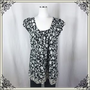 Lux Black and White Floral Blouse #2517